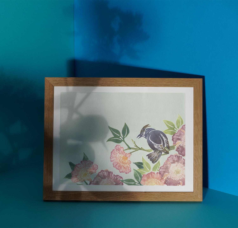 linogravure composition oiseau Florie Nguyen Van