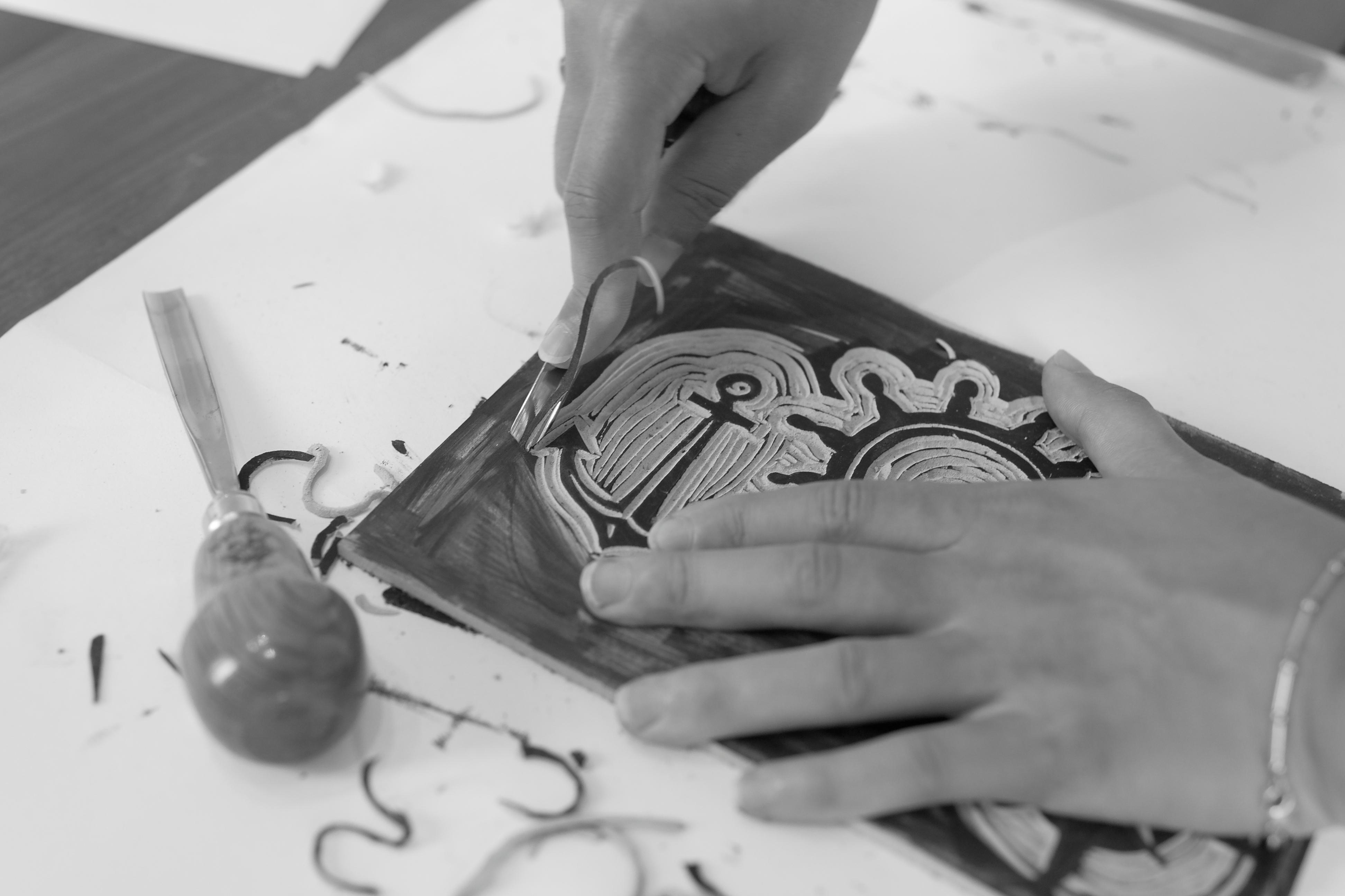 Linogravure pour 2 Fois Oui motif marin