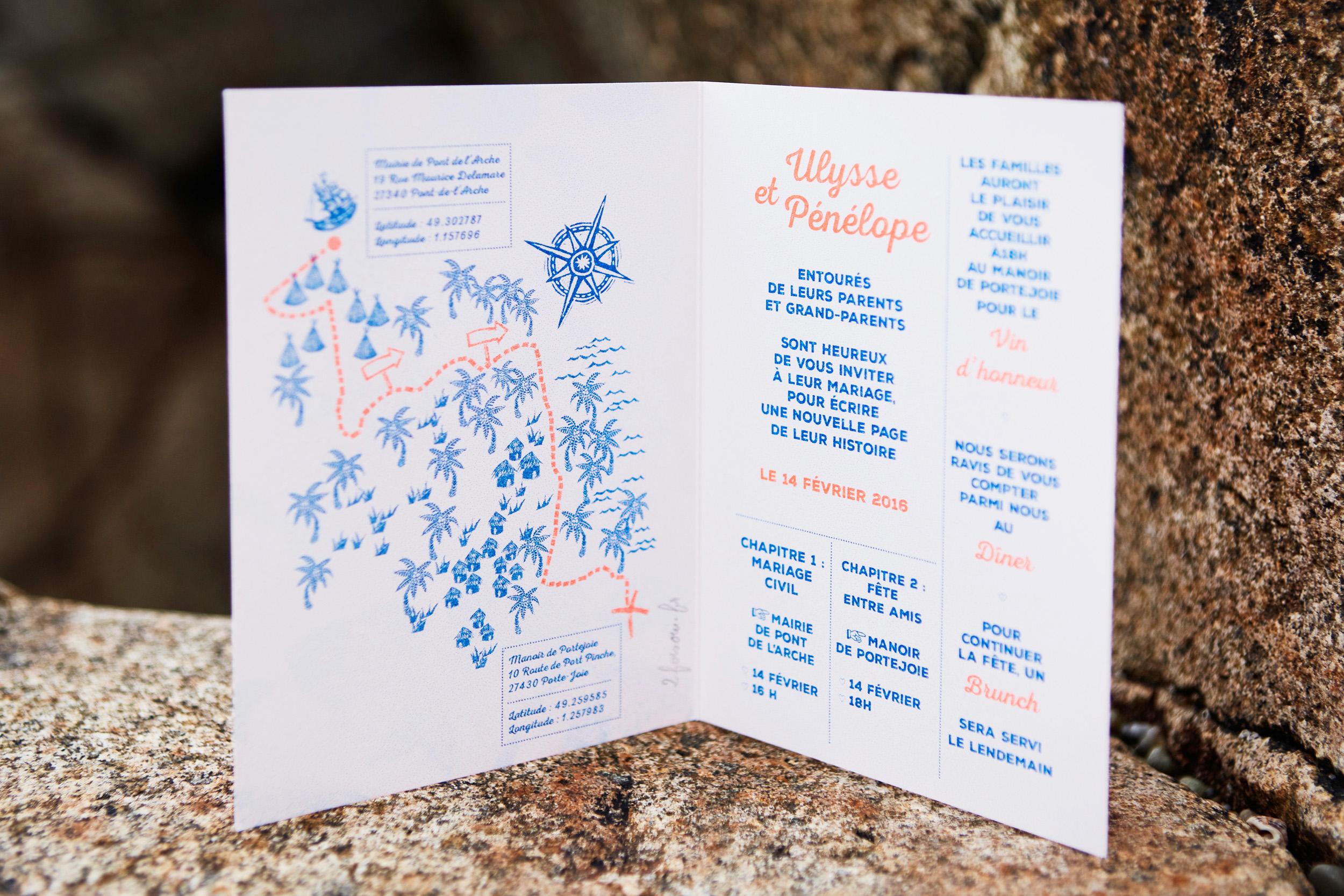 Plan dessiné en linogravure pour la collection Ulysse et Pénélope de 2 Fois Oui