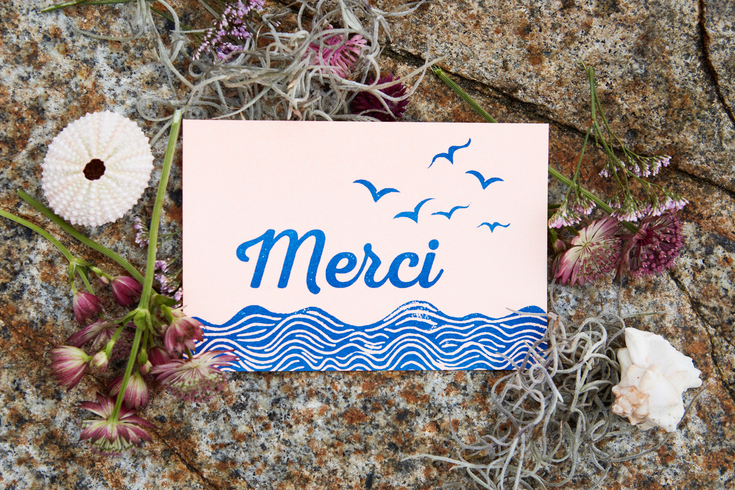 Carte de remerciement en linogravure collection Ulysse & Pénélope