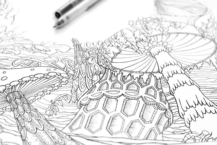 Couverture de Voyage au centre de la Terre de Jules Verne dessinée au stylo