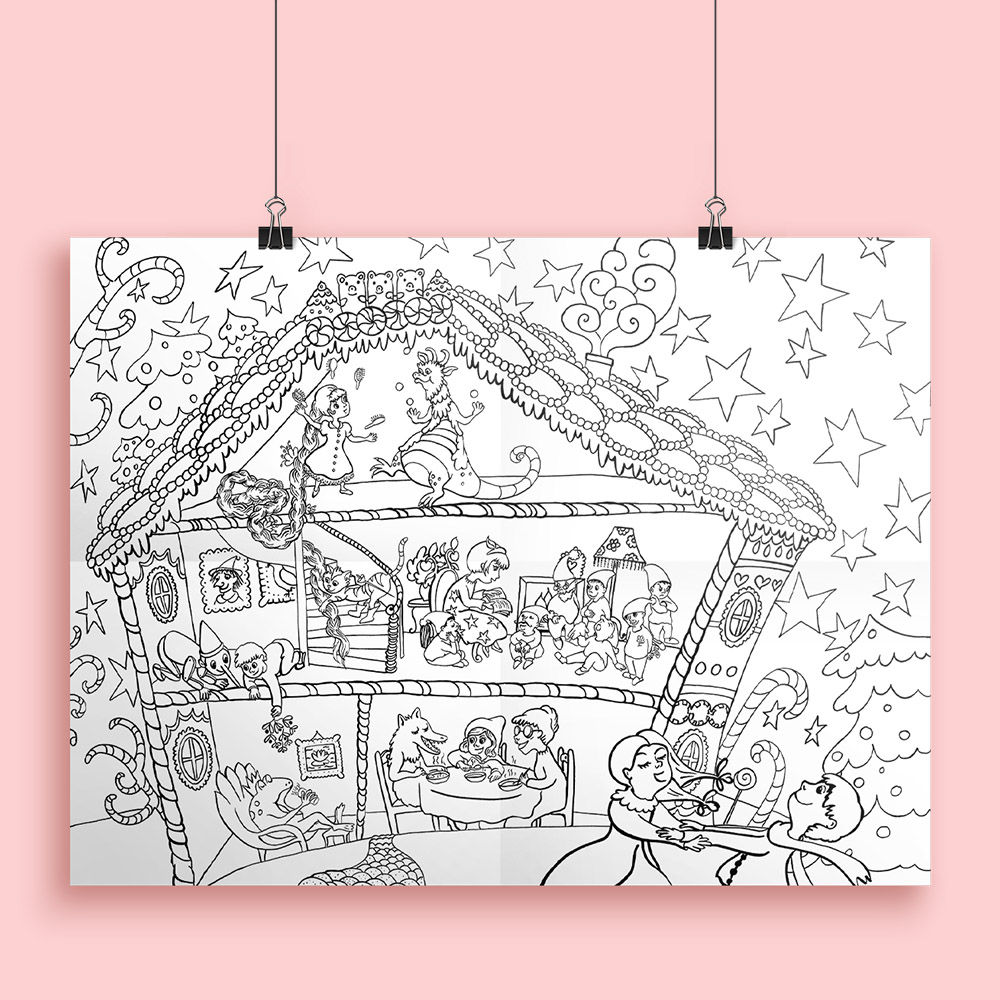 Affiche à colorier pour Bic sur les contes de Grimm