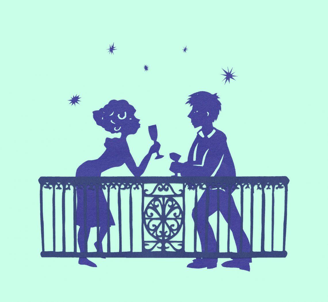 Couple trinquant sous les étoiles en papier découpé