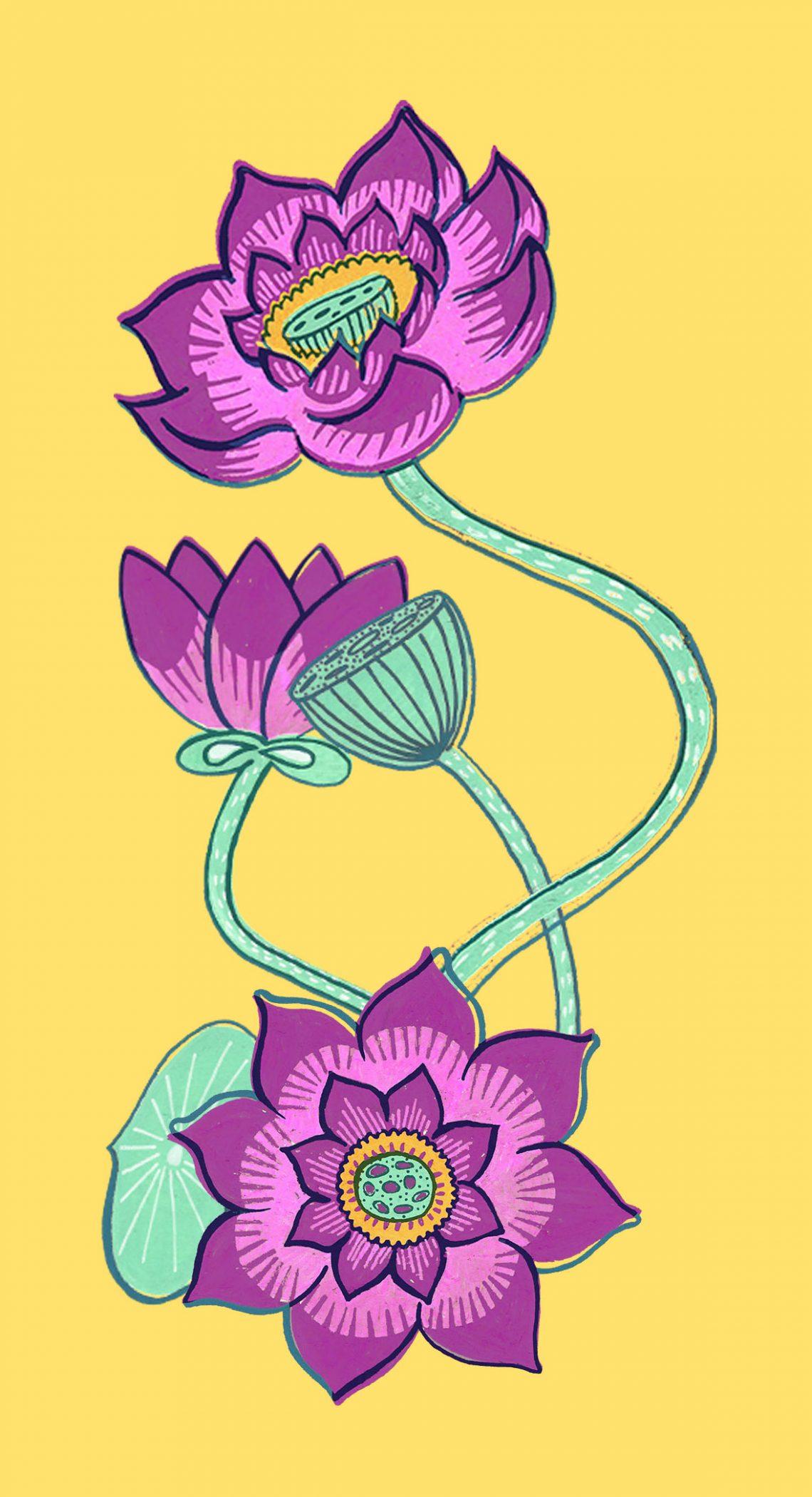 lotus dessinés au posca inspiré de l'Inde