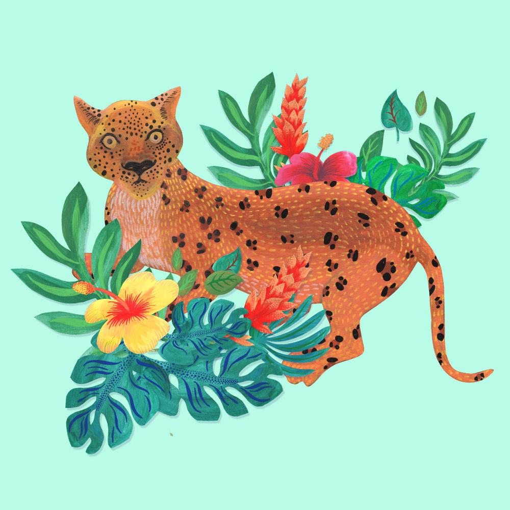 léopard peint à la main à la gouache