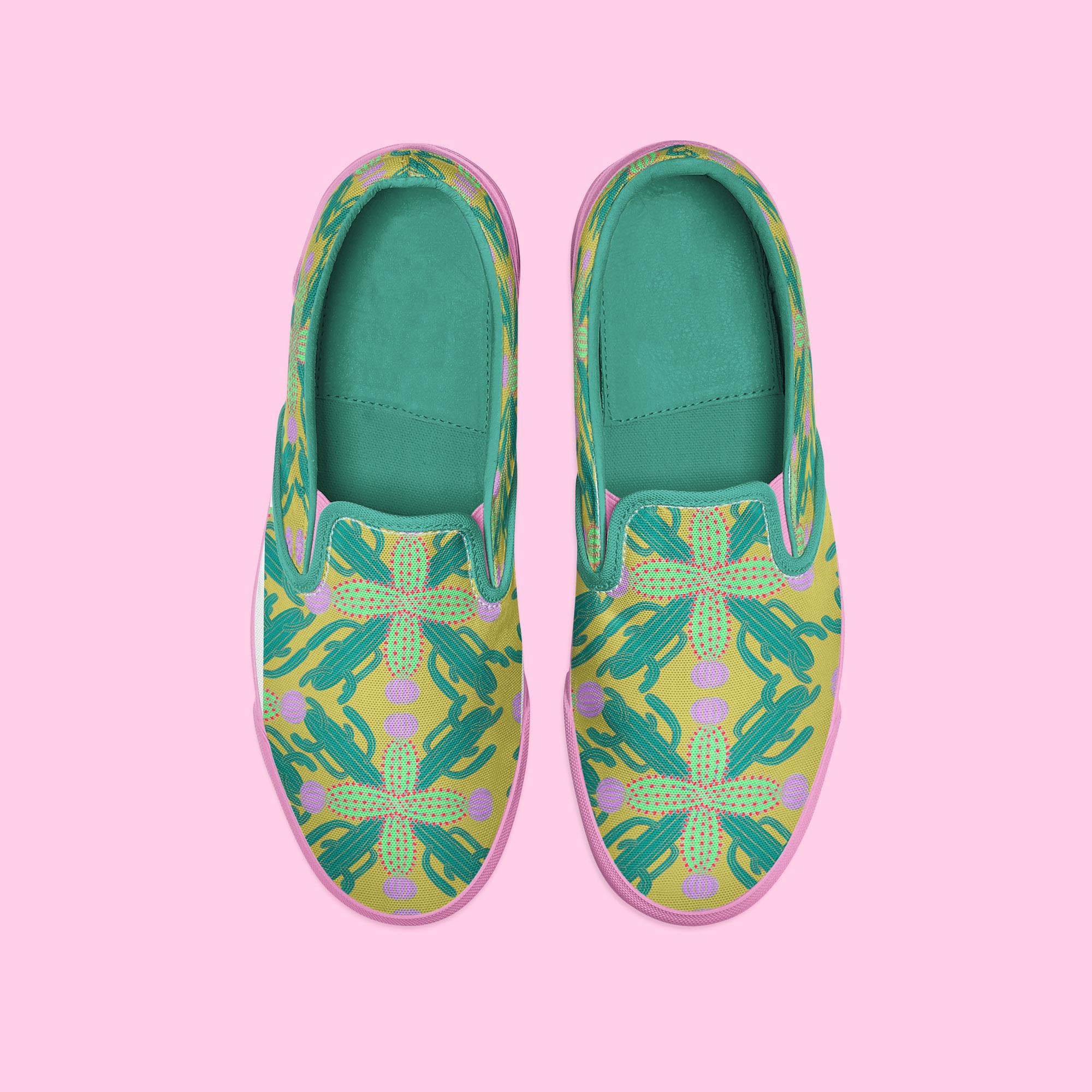 Motif cactus sur chaussures par Florie Nguyen Van, illustration au posca