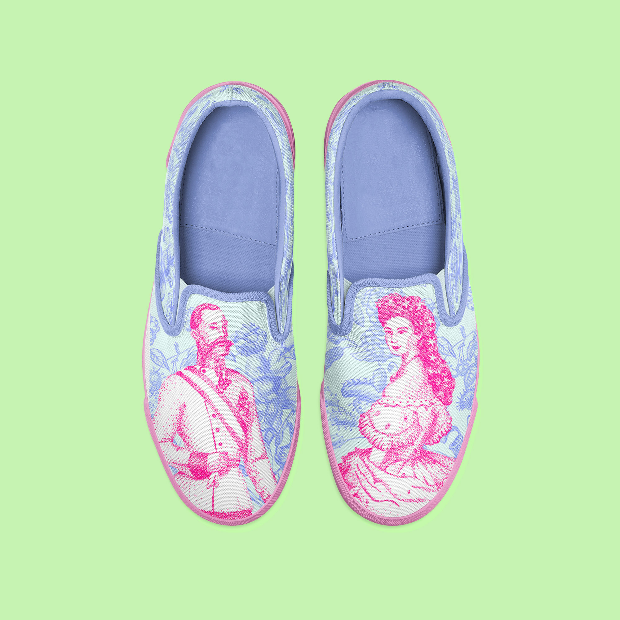 chaussures motifs Sissi et François Ferdinand d'Autriche, illustration au rotring