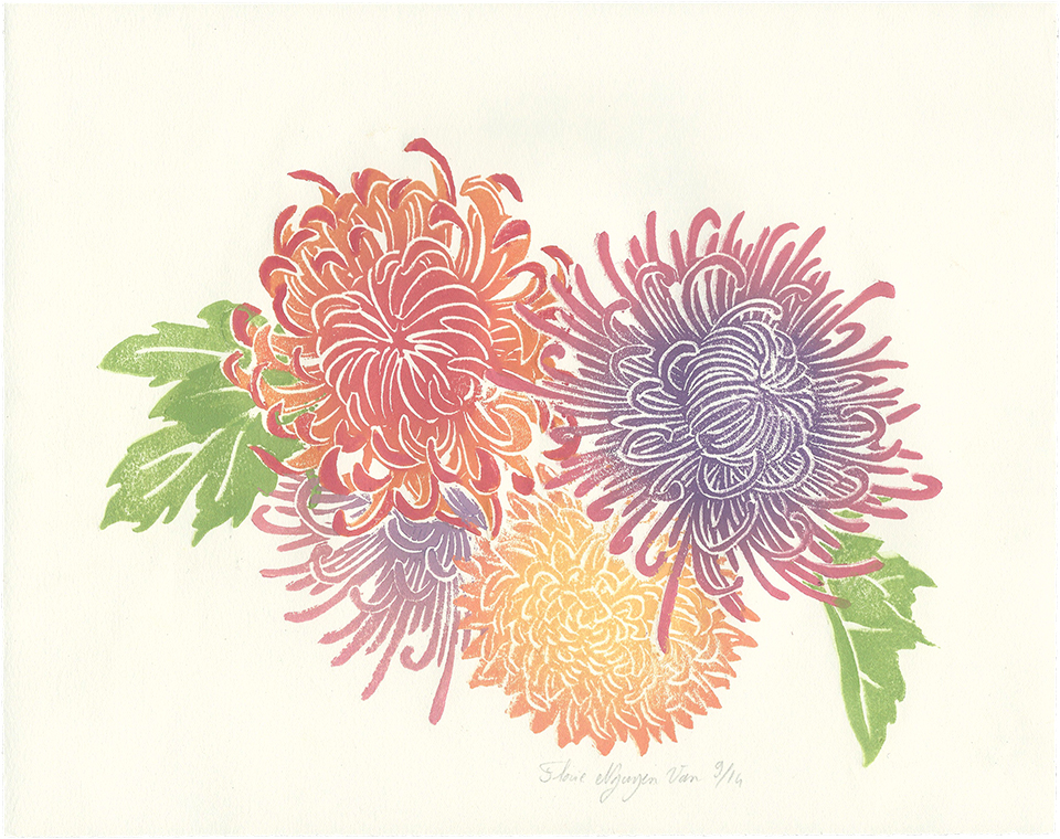Chrysanthèmes en linogravure