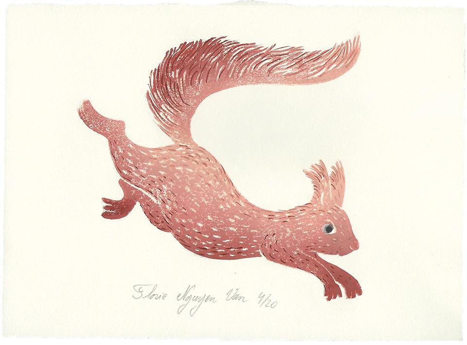 écureuil en linogravure