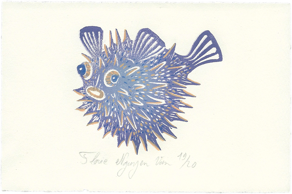 Poisson globe fugu en linogravure