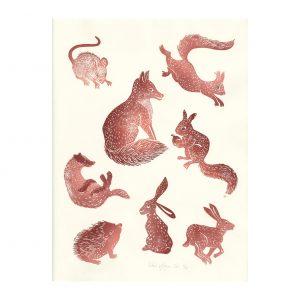 planche mammifère en linogravure par Florie Nguyen Van