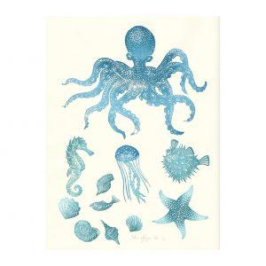 planche marine en linogravure par Florie Nguyen Van