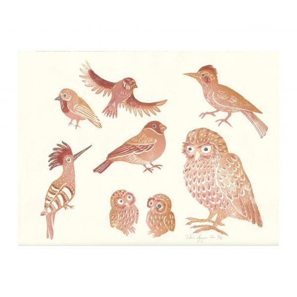 planches d'oiseaux en linogravure par Florie Nguyen Van