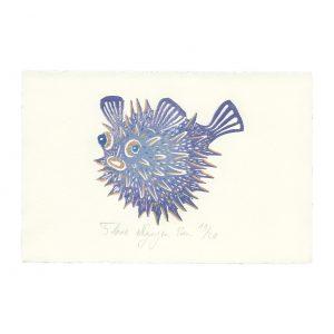 Fugu en linogravure par Florie Nguyen Van