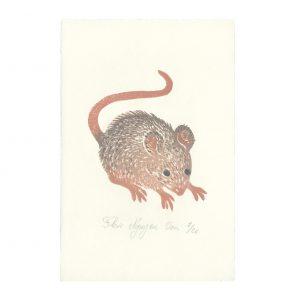 Souris en linogravure par Florie Nguyen Van