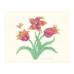 Tulipes en linogravure par Florie Nguyen Van