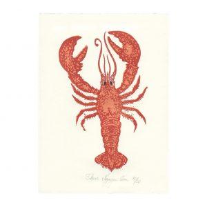 Linogravure homard par Florie Nguyen Van