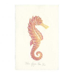 Linogravure hippocampe par Florie Nguyen Van