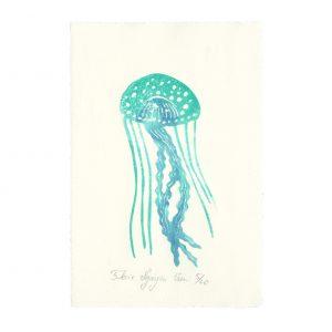 Linogravure méduse par Florie Nguyen Van