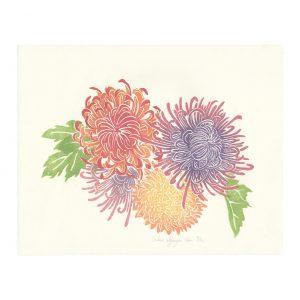 Linogravure Chrysanthèmes par Florie Nguyen Van
