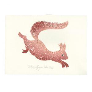 Linogravure écureuil par Florie Nguyen Van