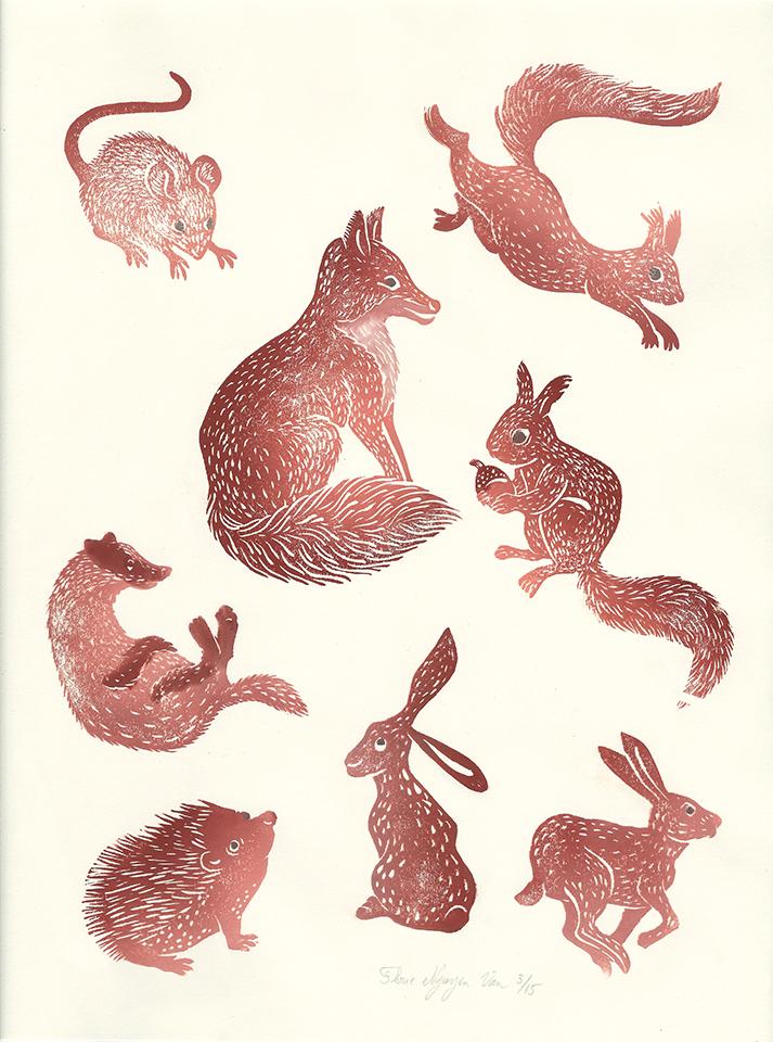Planche mammifères en linogravures