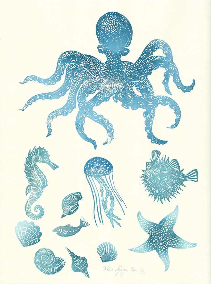 Planche animaux marins en linogravure
