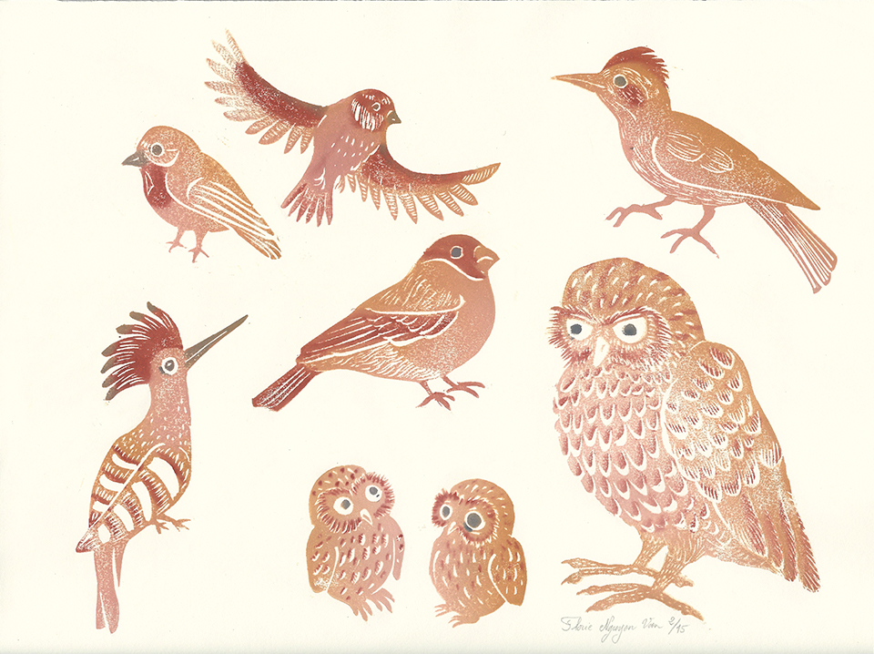 planche d'oiseaux en linogravure