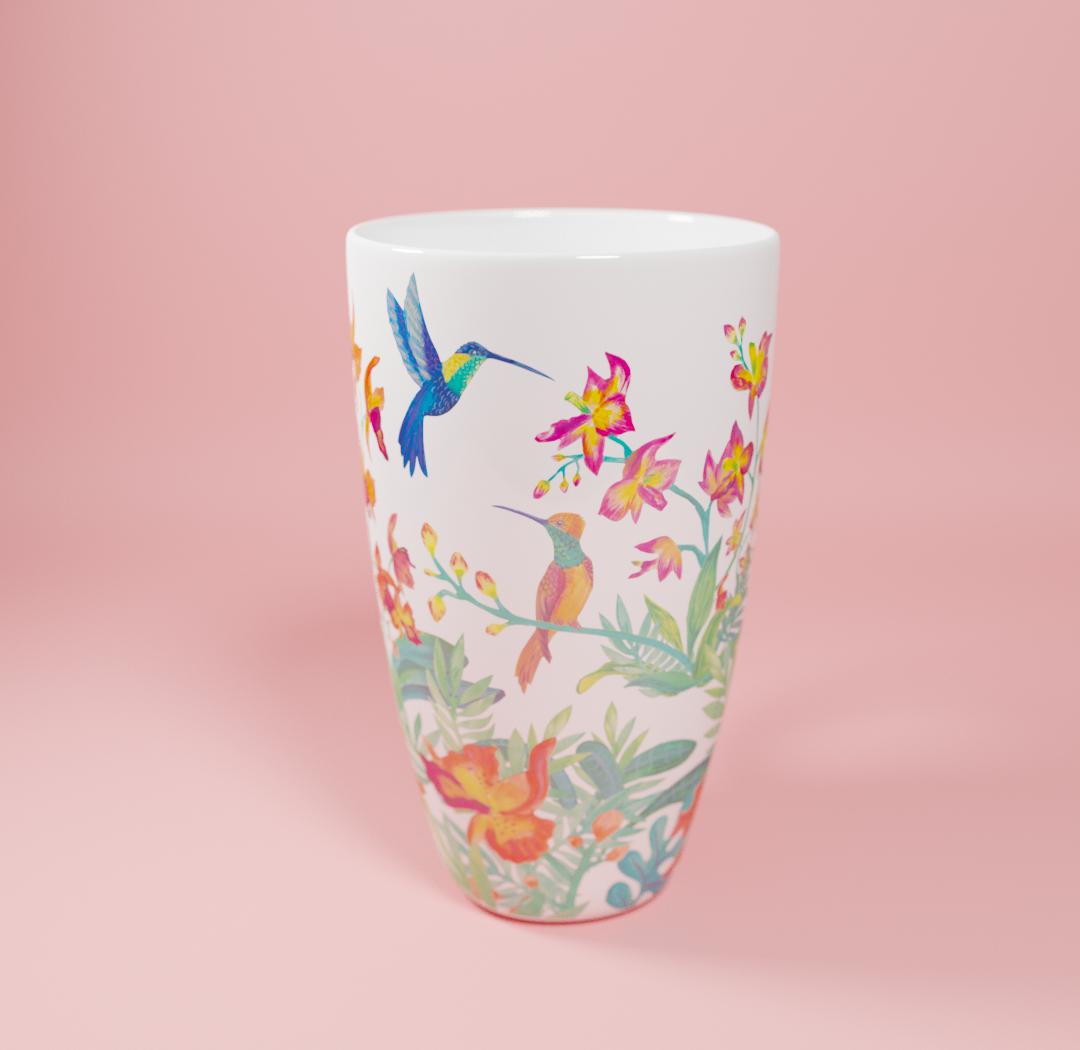 Tasse papillons pour Nature & Découvertes par Florie Nguyen Van, illustration à l'acrylique